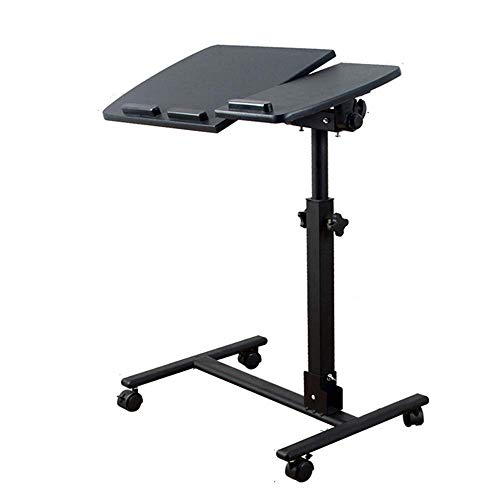 Home&Selected Furniture/Tragbarer Laptop Stand Schreibtisch Wagen mit Maus Board verstellbar in Höhe, 360;Swivel, Abschließbare Gleitrollen, 60 X 35 X 60-95cm (Color : B)