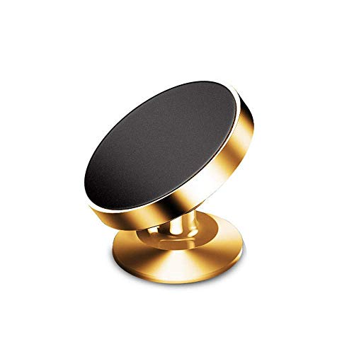 車載ホルダー スマホホルダー マグネット付き 360度回転 スマートフォン用 高級感 (Gold)