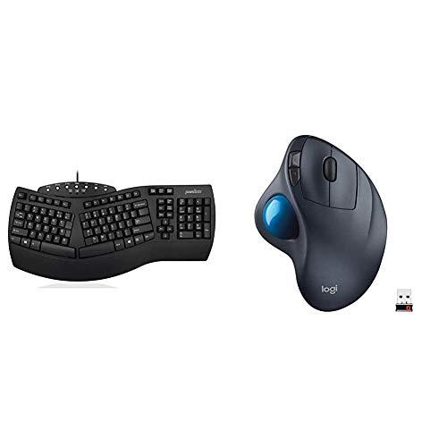 Perixx Periboard-512 Ergonomic Split Keyboard & Logitech M570 Wireless Trackball Mouse – Ergonomic Design with Sculpted Right-Hand Shape, Compatible with Mac and Microsoft Windows Computers, Dark Gray