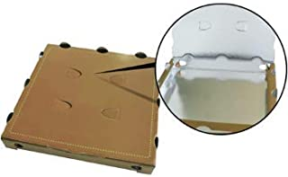 Caja de pizza para llevar de cartón Kraft AVANA 33 x 33 x 3,5 cm con PET metalizado interior 50 unidades - Pizza Box ecológica y certificada neutra sin dibujo