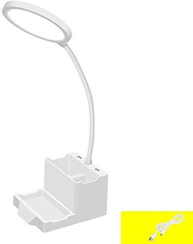 Lámpara De Escritorio Led Con Puerto De Carga Usb, Lámpara De Mesa Regulable Táctil Con Bolígrafo Y Soporte Para Teléfono Móvil Cuello De Cisne Ajustable Lámpara De Atmósfera Colorida Romántica Luz D
