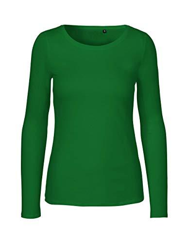 Green Cat - Camiseta de manga larga para mujer, 100% algodón orgánico. Certificado Fairtrade, Oeko-Tex y Ecolabel verde hierba XS