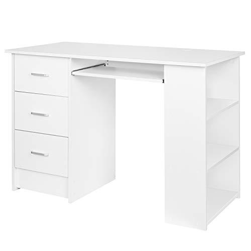 Homfa Schreibtisch Computertisch Bürotisch Arbeitstisch PC Tisch mit Tastaturauszug, 3 Schubladen, Staumraum, Ablage Morden Weiß 109x49x75 cm(BxTxH)