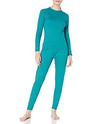 Fruit of the Loom Women's Fleece Lined Thermal Underwear Set, Emerald, Medium