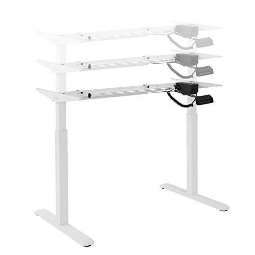 HOKO® Ergo-Work-Table Höhenverstellbarer Schreibtisch, Tischfüße Comfort Weiß, elektrisch. Ergonomisches Arbeiten im Sitzen und im Stehen! Memory Speicher Steuerung und Erinnerungsfunktion.