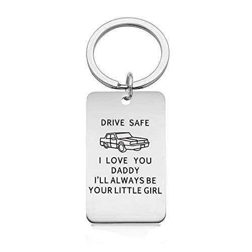 Epinki Acero Inoxidable Llavero Drive Safe I Love You Daddy Plata Llavero Estilo B para Hombre