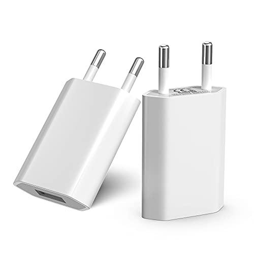BERLS 2 Pezzi Caricatore USB Compatibile con Iphone 5 6 7 8 X XS XR XS Max, IPad mini, IPod, alimentatore 5V 1A Caricabatterie