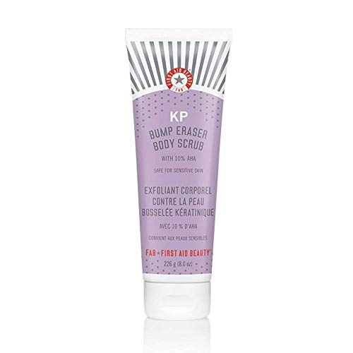 First Aid Beauty KP Bump Eraser Body Scrub with 10% AHA: Vegan Body Scrub to Decongestant Pores and Gently Exfoliate the Skin (8 oz)