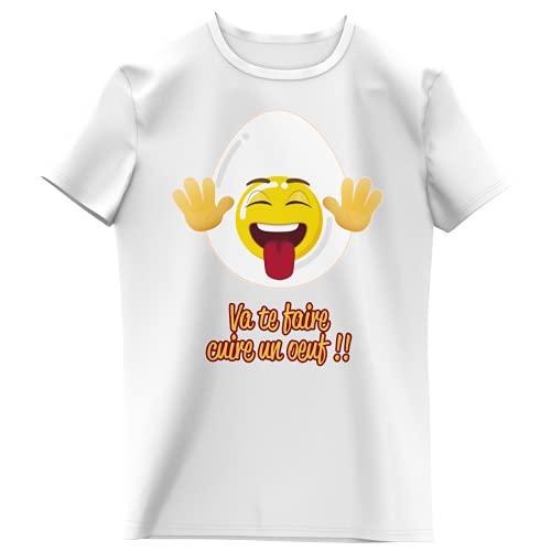 Okiwoki - Maglietta da bambina con scritta 'Parodie Funny - umoristica', collezione Humour et Fun Va Te faire Cuire Un Oeuf' (maglietta da bambino di alta qualità, stampata in Francia) bianco 14 Anni