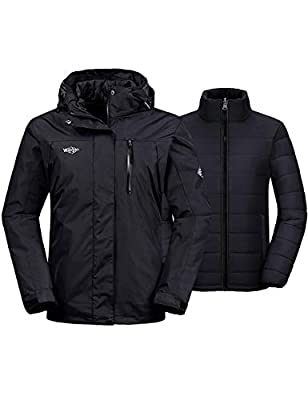Wantdo Women's Ski Jacket Insulated Hoodie with Detachable Puffer Liner Black L