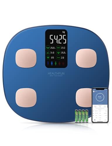 Körperfettwaage, HEALTHFUN Bluetooth-Personenwaage für Körpergewicht mit 15 Körperdaten einschließlich Herzfrequenz, 7 Daten, die auf einem extra großen VA-Bildschirm angezeigt werden, Smartphone-App
