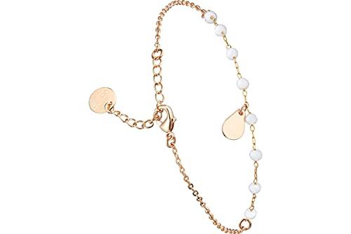 Clyda - Pulsera de cadena con perlas de acero, dorada en oro, cristal Swarovski, color blanco
