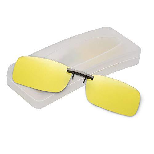 クリップオン サングラス 偏光サングラス クリップ UV400 夜間運転 偏光スポーツサングラス 偏光レンズ メガネの上からつけられる 付きサングラス 跳ね上げ 偏光クリップ眼鏡 紫外線カット 前掛けクリップ式サングラ ス 収納ケース付き 超軽量 (イエロ