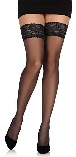 Bellivalini Collant Bas Autofixant en Microfibre Femme 20 DEN BLVFI1009 (Noir, M/L (Taille du Fabricant: 3/4))