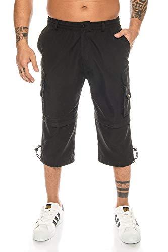 Kendindza Homme 3/4 Cargo Pantalon Pantacourt Short de Bermuda Court Vetement Regular et fermeture éclair avec poche d'été grande taille Coton Noir 3XL