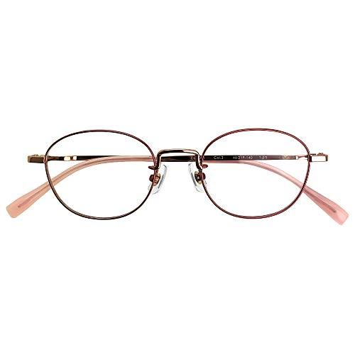 ブルーライトカット UVカット 遠近両用メガネ ブランシック クラシック cl-3081 (レディースセット) 全額返金保証 境目のない 遠近両用 老眼鏡 (瞳孔間距離:66mm〜68mm, 近くを見る度数:+3.0)