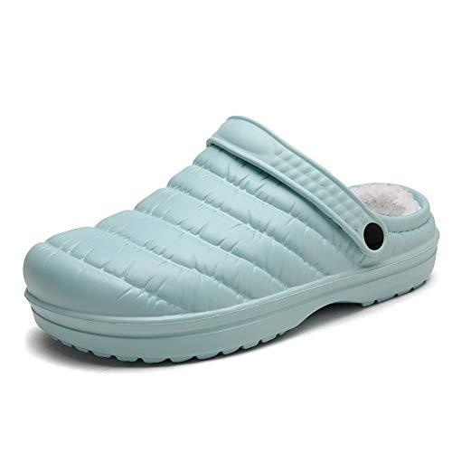 heyun Womens Mens Winter Slippers Memory Foam Fur Lined Clogs Garden Shoes Slip on Mules Clogs House Shoes Indoor Outdoor Anti-Skid Rubber Sole Green 9 Women/7 Men