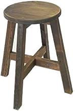 ハンドメイド 丸スツール  木製丸椅子  ナチュラルテイスト (43cm, ヴィンテージ ブラック)