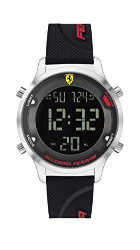 Ferrari 0830756 - Reloj de cuarzo digital para hombre, correa de silicona, color negro, 18 (modelo: 0830756)