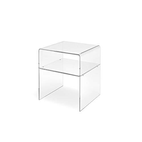 LuceSolida - 'Float' Tavolino Comodino a Ponte con Mensola in Plexiglass Trasparente (L40xP30xH45)