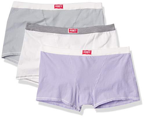 Hanes Ultimate Calzoncillos Tipo bóxer para Mujer Comfort Flex Stretch Boyfriend Vintage Paquete de 3, Blanco/Plateado/Lila Misty, XL