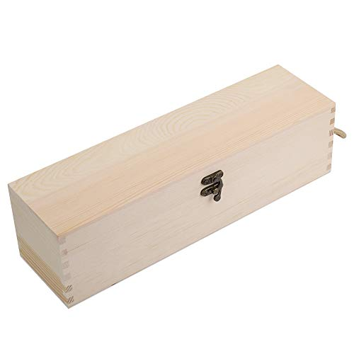 Cajas de vino de madera, caja de vino de una sola botella con tapa con bisagras, cajas de regalo de madera vintage para juegos de accesorios de vino, 10 x 10 x 35 cm