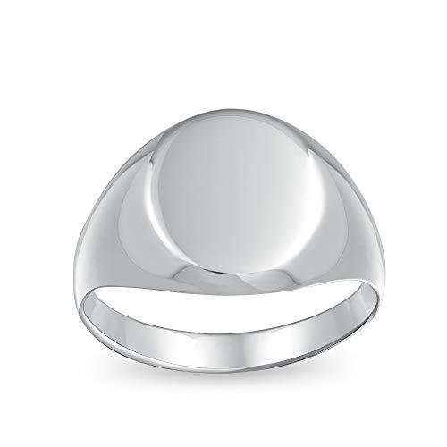 Basico Sencillo Monograma Engravable Plata Esterlina 925 Anillo De Sello Oval Para Hombres Y Para Mujer