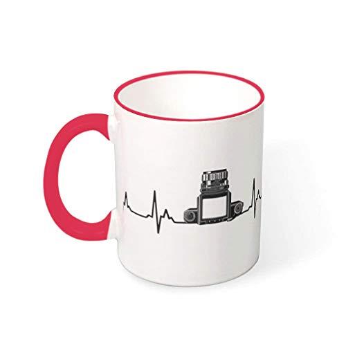 Taza de té con asa de cerámica lisa con diseño de latido del corazón de la fotografía, regalo para fotógrafo, traje para residencia, color rojo, 330 ml