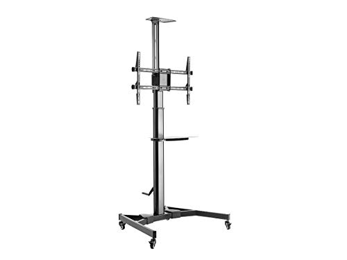 Monoprice Premium Mobile Tilt TV Wall Mount Bracket Stand Cart with Media Shelf Bracket - for TVs 37in to 70in Max Weight 110lbs Rotating Height Adjustable, Black (130361)