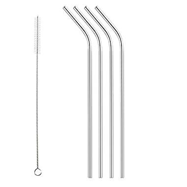 Set of 4 Stainless Steel Drinking Straws, Universally Fits 16 oz - 40 oz cups including RTIC and Yeti 20 oz 30 oz and FIREKI 40 oz Tumblers, Cleaning Brush Included
