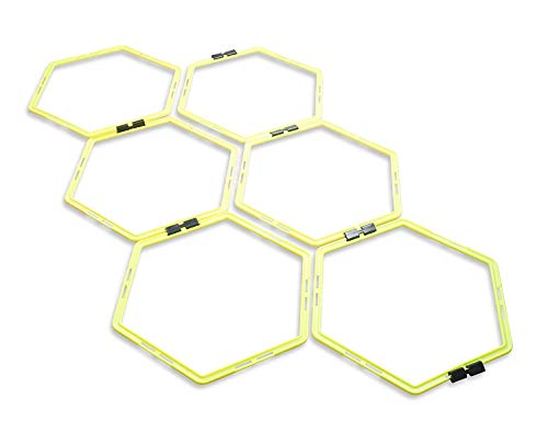 Unlimited Potential Hexagonal Speed & Agility Training Rings Tennis Soccer Football Basketball Training Aid With Carrying Bag (Yellow, 6 rings)