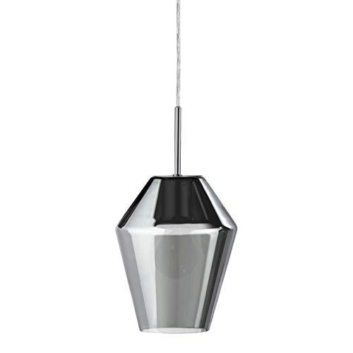 Eglo Murmillo - Lámpara de techo colgante de acero cromado y cristal en negro transparente, lámpara de mesa de comedor colgante con casquillo E27
