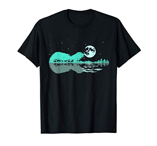 Noche Lago Guitarra Eléctrica Reflejos Amante De La Guitarra Camiseta