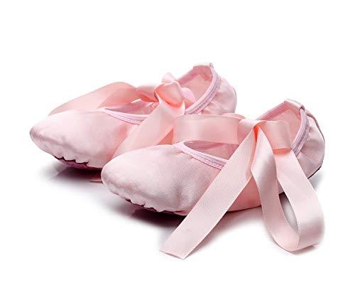 Lilys Locker - Scarpette da Danza Classica Suola Divisa Scarpette da Ballerina per Bambina e Adulti (35, Rosa)