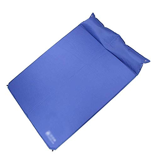 Grateful for everything Inflatable pad Automatic Inflatable Cushion Double Pillow Compact Portable Outdoor Camping Sleeping Mat Moisture-proof Double Roll Mat Blue, 185x135x2.5cm (Color : 2A)