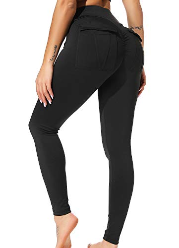 INSTINNCT Damen Push up Leggings Casualhose Sporthose Jogginghose Stretch Workout Fitness mit Taschen #2 Schwarz M