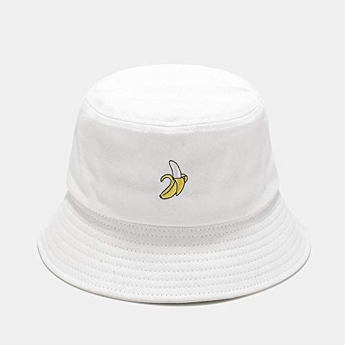 Bucket Hat Hut Damen Herren Niedliche Buchstaben Fischerhut Frauen Faltbare Kreative Outdoor-Mode Waschbecken Kappe Eimer Sonnenhut -Banana_White