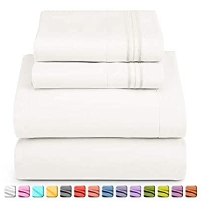 Nestl Luxury Queen Sheet Set - 4 Piece Extra Soft 1800 Microfiber-Deep Pocket Bed Sheets with Fitted Sheet, Flat Sheet, 2 Pillow Cases-Breathable, Hotel Grade Comfort and Softness - White