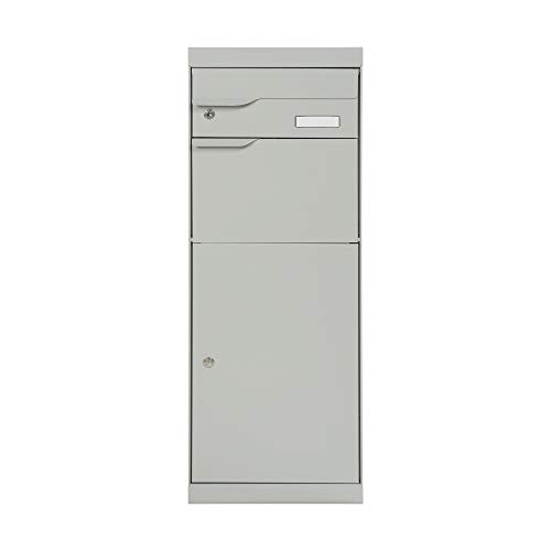 MEFA Paketbriefkasten ETNA 771 mit Namenschild (Farbe weißaluminium, Postkasten mit Schloss, 1094 x 402 x 305 mm) 771031M