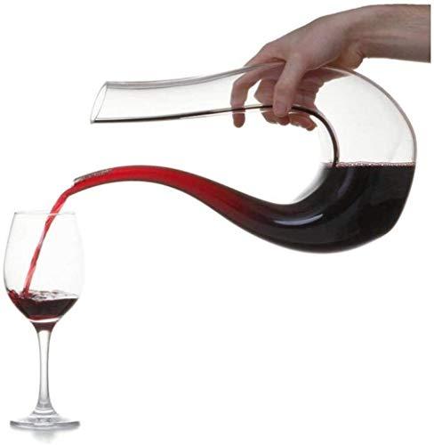 Decantador de vino de cristal hecho a mano, decantador de cristal de cristal, dispensador de vino tinto creativo personalizado, decantador, arpa en forma de U Pot Swan Pot Set-A1 Accesorios de vino (C