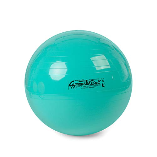 Pezzi Original Gymnastikball Standard Ø 42 cm | 53 cm | 65 cm | 75 cm belastbar bis 400 kg robuster Sitzball Bürostuhl Fitness Reha Therapie (Grün, Ø 65 cm - bis 175 cm Körpergröße)