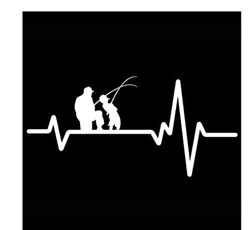 MDGCYDR Adesivo per Auto Divertente 16,7 Cm * 8 Cm Pesca Padre papà Figlio Canna da Pesca Mulinello Battito Cardiaco in Vinile Nero/Argento Adesivo per Auto Divertente