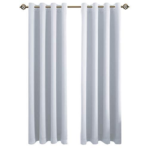FLOWEROOM Blikdichte Gardinen Verdunkelungsvorhang - Lichtundurchlässige Vorhang mit Ösen für Schlafzimmer Geräuschreduzierung Grau Weiß 182x132cm(HxB), 2er Set