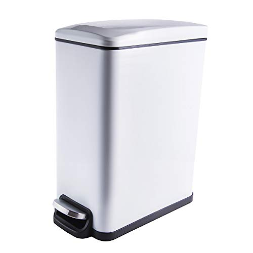 YCTEC Rectangular Small Trash Can with Lid Soft Close and Removable Inner Wastebasket, Slim Trash Can for Bathroom, Bedroom, Office, Anti-Fingerprint Matt Finish, 10L/2.6Gal, White