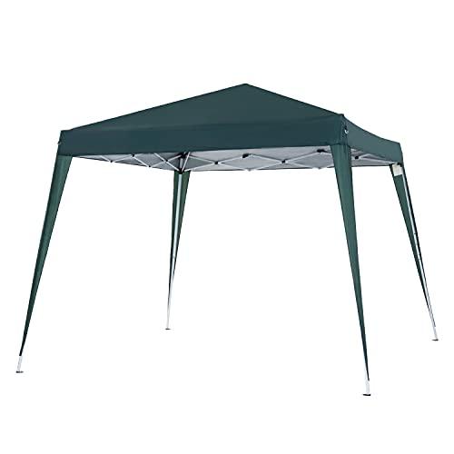 Outsunny Carpa Plegable 3x3m Cenador de Jardín Diseño Pop Up de Acero y Cubierta de Tela Oxford Verde