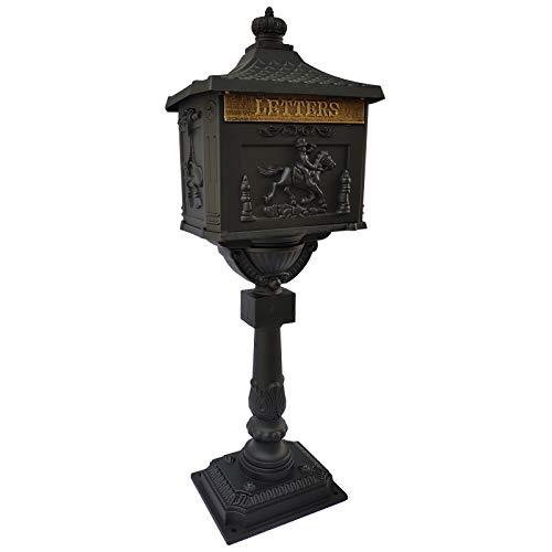 Polar Aurora Mailbox Cast Aluminum Black Mail Box Postal Box Security Heavy Duty New