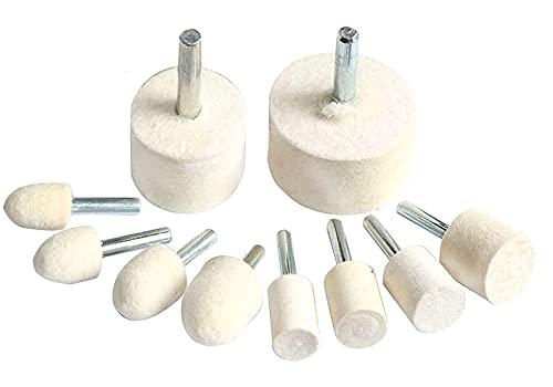Luo ke 10 Pieces 1/4'' Shank Wool Felt Polishing/Buffing Wheel Grinding Head Fits Electric Rotary Tools