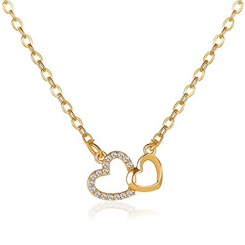 KONZFD collarRomântico Simples Grande Pequeno coração-em Forma de Colar requintado Cristal zircão pingente de Ouro clavícula corrente jóias de Casamento Feminino