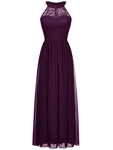 WedTrend Damen Spitzenkleid Brautjungfer Kleid Lang Chiffon Abendkleid Party Cocktailkleid Neckholder Sommerkleid Weintraube WT0201 Grape L