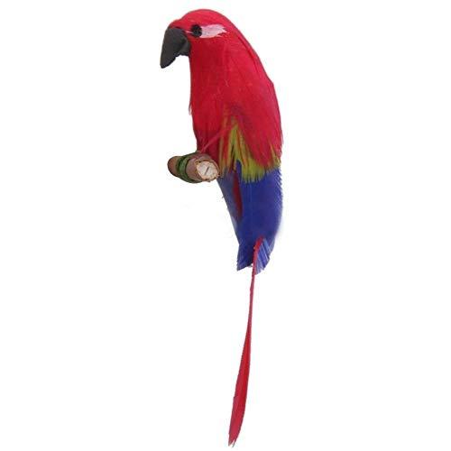 gzzebo Bonita simulación Hecha a Mano Loro casa de muñecas en Miniatura de Aves Mini Modelo Decoración Rojo